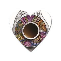 Ethnic Pattern Ornaments And Coffee Cups Vector Heart Magnet