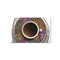 Ethnic Pattern Ornaments And Coffee Cups Vector Magnet (Name Card)
