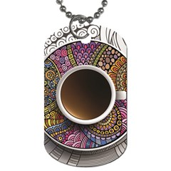 Ethnic Pattern Ornaments And Coffee Cups Vector Dog Tag (one Side)