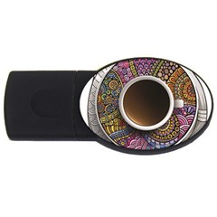 Ethnic Pattern Ornaments And Coffee Cups Vector USB Flash Drive Oval (1 GB)