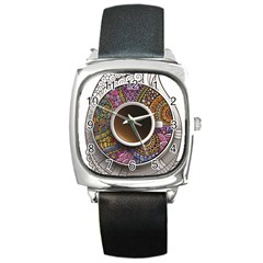Ethnic Pattern Ornaments And Coffee Cups Vector Square Metal Watch