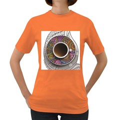 Ethnic Pattern Ornaments And Coffee Cups Vector Women s Dark T Shirt