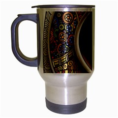 Ethnic Pattern Ornaments And Coffee Cups Vector Travel Mug (Silver Gray)