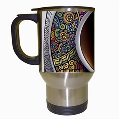 Ethnic Pattern Ornaments And Coffee Cups Vector Travel Mugs (white)