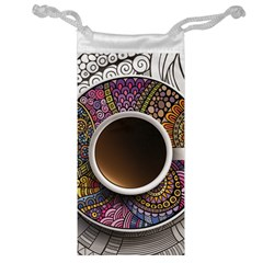 Ethnic Pattern Ornaments And Coffee Cups Vector Jewelry Bag
