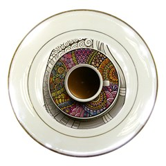 Ethnic Pattern Ornaments And Coffee Cups Vector Porcelain Plates