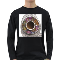 Ethnic Pattern Ornaments And Coffee Cups Vector Long Sleeve Dark T Shirts