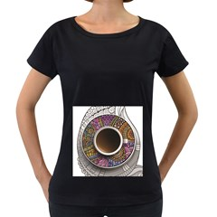 Ethnic Pattern Ornaments And Coffee Cups Vector Women s Loose Fit T Shirt (black)