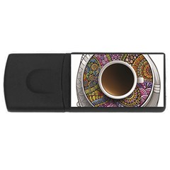 Ethnic Pattern Ornaments And Coffee Cups Vector Usb Flash Drive Rectangular (4 Gb)