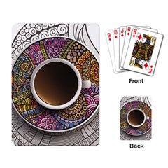Ethnic Pattern Ornaments And Coffee Cups Vector Playing Card