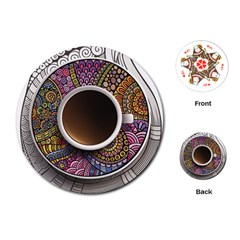 Ethnic Pattern Ornaments And Coffee Cups Vector Playing Cards (Round)