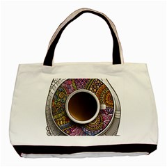 Ethnic Pattern Ornaments And Coffee Cups Vector Basic Tote Bag