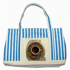 Ethnic Pattern Ornaments And Coffee Cups Vector Striped Blue Tote Bag