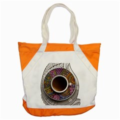 Ethnic Pattern Ornaments And Coffee Cups Vector Accent Tote Bag