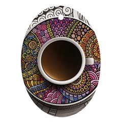 Ethnic Pattern Ornaments And Coffee Cups Vector Oval Ornament (Two Sides)