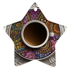 Ethnic Pattern Ornaments And Coffee Cups Vector Star Ornament (Two Sides)