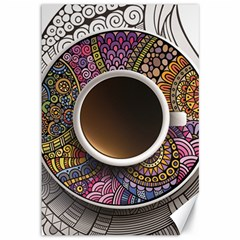 Ethnic Pattern Ornaments And Coffee Cups Vector Canvas 12  X 18