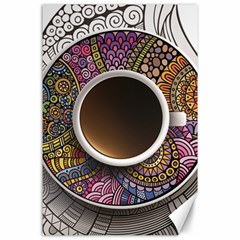 Ethnic Pattern Ornaments And Coffee Cups Vector Canvas 24  X 36