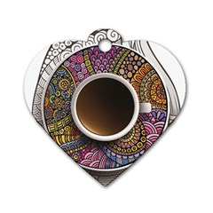 Ethnic Pattern Ornaments And Coffee Cups Vector Dog Tag Heart (One Side)
