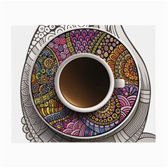 Ethnic Pattern Ornaments And Coffee Cups Vector Small Glasses Cloth (2 Side)