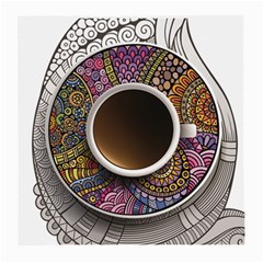 Ethnic Pattern Ornaments And Coffee Cups Vector Medium Glasses Cloth (2 Side)