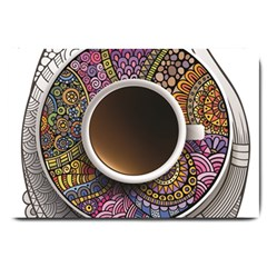 Ethnic Pattern Ornaments And Coffee Cups Vector Large Doormat