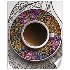 Ethnic Pattern Ornaments And Coffee Cups Vector Canvas 11  X 14