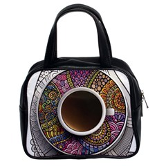 Ethnic Pattern Ornaments And Coffee Cups Vector Classic Handbags (2 Sides)
