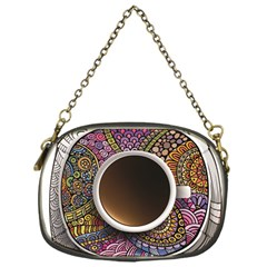 Ethnic Pattern Ornaments And Coffee Cups Vector Chain Purses (one Side)
