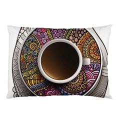 Ethnic Pattern Ornaments And Coffee Cups Vector Pillow Case