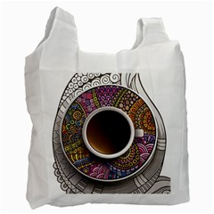 Ethnic Pattern Ornaments And Coffee Cups Vector Recycle Bag (one Side)