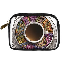 Ethnic Pattern Ornaments And Coffee Cups Vector Digital Camera Cases