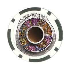 Ethnic Pattern Ornaments And Coffee Cups Vector Poker Chip Card Guard (10 Pack)