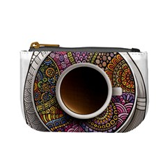 Ethnic Pattern Ornaments And Coffee Cups Vector Mini Coin Purses