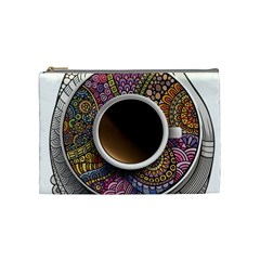 Ethnic Pattern Ornaments And Coffee Cups Vector Cosmetic Bag (Medium)