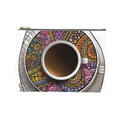 Ethnic Pattern Ornaments And Coffee Cups Vector Cosmetic Bag (large)
