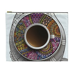Ethnic Pattern Ornaments And Coffee Cups Vector Cosmetic Bag (xl)