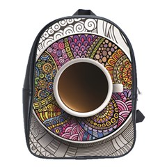 Ethnic Pattern Ornaments And Coffee Cups Vector School Bags(large)