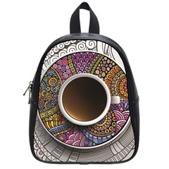 Ethnic Pattern Ornaments And Coffee Cups Vector School Bags (small)