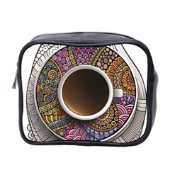 Ethnic Pattern Ornaments And Coffee Cups Vector Mini Toiletries Bag 2 Side