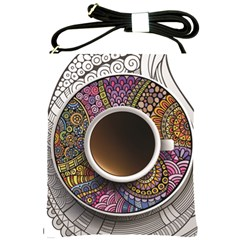 Ethnic Pattern Ornaments And Coffee Cups Vector Shoulder Sling Bags
