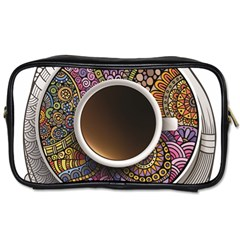 Ethnic Pattern Ornaments And Coffee Cups Vector Toiletries Bags 2 Side