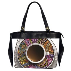 Ethnic Pattern Ornaments And Coffee Cups Vector Office Handbags (2 Sides)