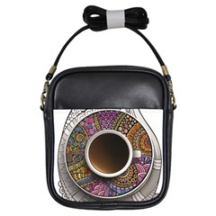 Ethnic Pattern Ornaments And Coffee Cups Vector Girls Sling Bags