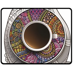 Ethnic Pattern Ornaments And Coffee Cups Vector Fleece Blanket (medium)