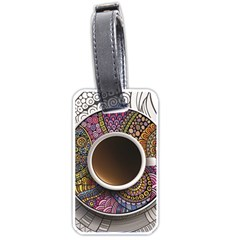 Ethnic Pattern Ornaments And Coffee Cups Vector Luggage Tags (two Sides)