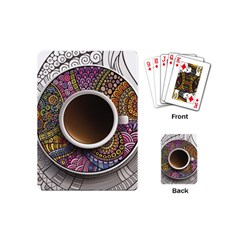 Ethnic Pattern Ornaments And Coffee Cups Vector Playing Cards (mini)