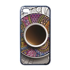 Ethnic Pattern Ornaments And Coffee Cups Vector Apple Iphone 4 Case (black)