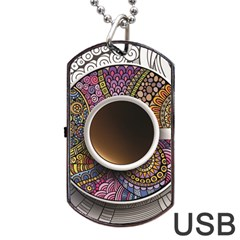 Ethnic Pattern Ornaments And Coffee Cups Vector Dog Tag Usb Flash (one Side)