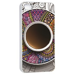 Ethnic Pattern Ornaments And Coffee Cups Vector Apple Iphone 4/4s Seamless Case (white)